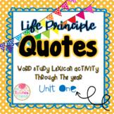 Life Principle Word Study Lexicon Activity Through the Year (Unit 1)