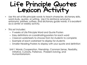Life Principle Word Study Lexicon Activity Through the Year (Unit 1)