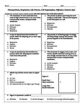 Life Processes, Cellular Processes, Diffusion, Osmosis Multiple Choice Quiz