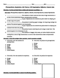 Life Processes, Cellular Processes, Diffusion, Osmosis Short Answer Quiz