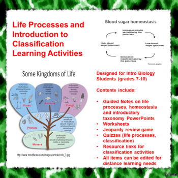 Life Processes and Introduction to Classification Learning Activities