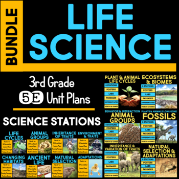 Life Science 5E Units AND Science Stations BUNDLE for Third Grade