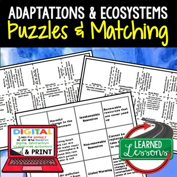 Adaptations Puzzles Digital Interactive Notebook with Google Link, or Print