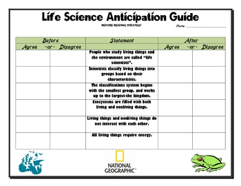 life science anticipation guide by billy spicer tpt rh teacherspayteachers com anticipation guide after reading strategy anticipation guide strategy.pdf
