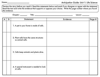 life science anticipation guide 5th grade by la mochila primaria. Black Bedroom Furniture Sets. Home Design Ideas