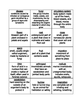 Life Science BINGO Game