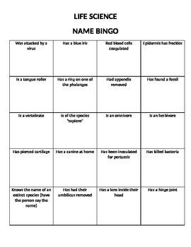 Life Science Bingo Game