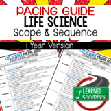 Life Science, Biology Pacing Guide, Goes with Life Science