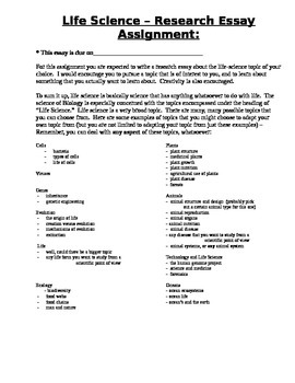 Life Science / Biology Research Essay Assignment
