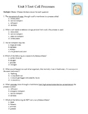 Life Science/Biology Test- Cellular Processes