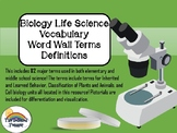 Life Science Cells Biology Vocabulary Word Walls Definitio