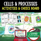 Life Science Cells Activities, Choice Board, Print & Digit