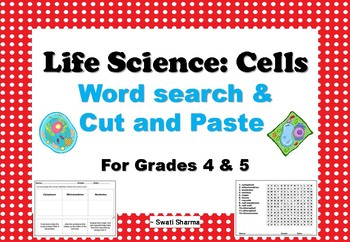 Life Science Cells, Word Search, Cut and Paste Worksheets