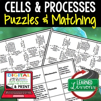 Cells & Processes Puzzles Digital Interactive Notebook, Google & Print