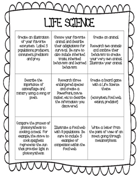 Life Science Choice Board