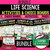 Life Science Activities, Life Science Choice Board BUNDLE Print, Digital, Google