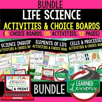 Life Science Choice Board Activities BUNDLE with Google -