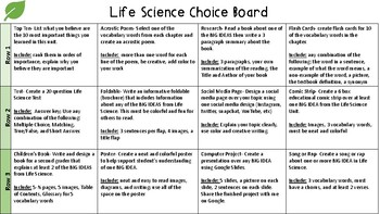 Life Science Choice Board: using NGSS