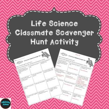 Life Science Classmate Scavenger Hunt Activity