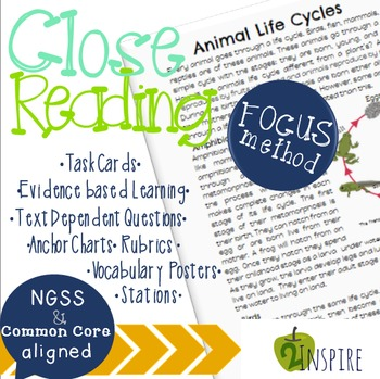 Life Science Close Reading Animal Life Cycle Evidence and Text-Dependent Packet