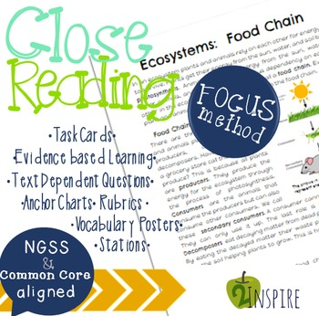 Life Science Close Reading Ecosystem: Food Chain Evidence and Text-Dependent