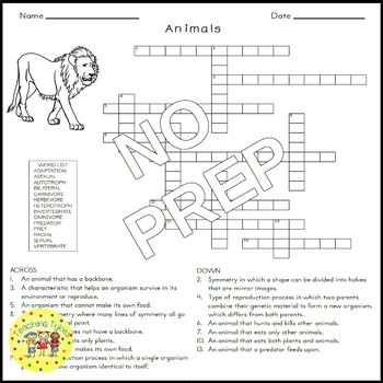 Life Science Crossword Puzzle Coloring Worksheets Middle School