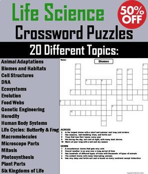 Life Science Crossword Puzzles Bundle: Ecosystems, Cells, Animal Adaptations etc