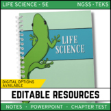 Life Science Curriculum - Notes, PowerPoint, and Chapter Tests ~ EDITABLE Bundle