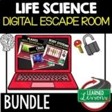 Life Science Digital Escape Room, Life Science Activity Pages BUNDLE
