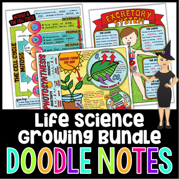 LIFE SCIENCE DOODLE NOTES, INTERACTIVE NOTEBOOK - GROWING BUNDLE!