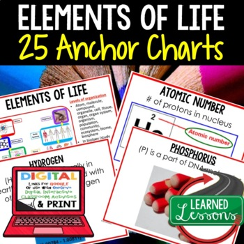 Life Science Elements of Life 25 Anchor Charts