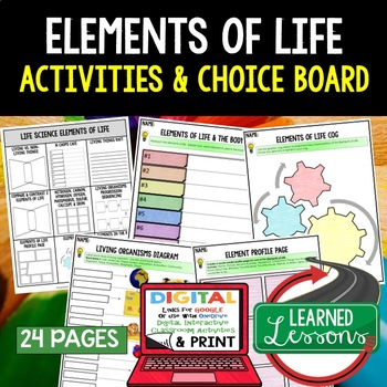 Life Science Elements of Life Choice Boards & Activity Pages with Google Link