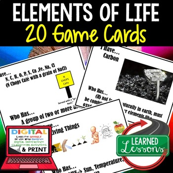 Elements of Life Game Cards, Life Science Test Prep, NGSS