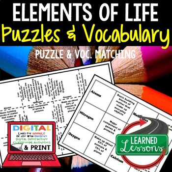 Life Science Elements of Life Puzzle