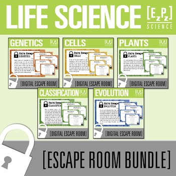 Life Science Escape Room Bundle- Distance Learning