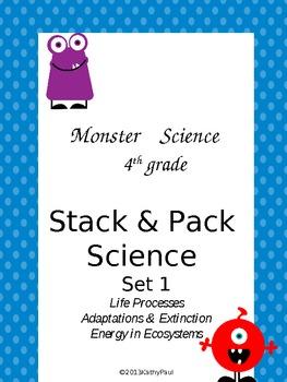 Life Science Grade 4 Stack & Pack Set 1 Monster theme