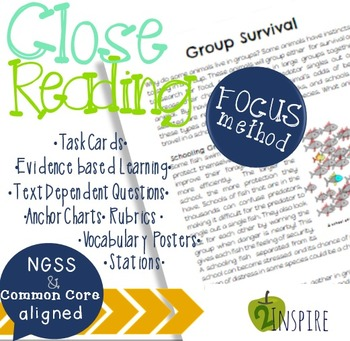 Life Science Group Adaptation Close Reading Evidence & Text-Dependent Packet