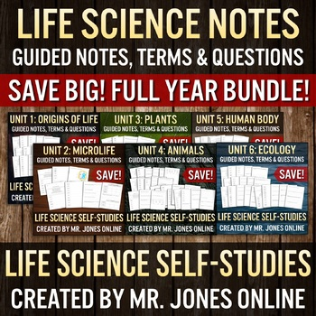 Life Science Guided Notes Self Studies FULL YEAR BUNDLE!