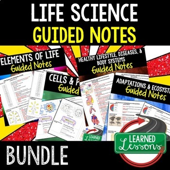 Life Science Guided Notes for Students and Teacher BUNDLE  (Life Science Bundle)