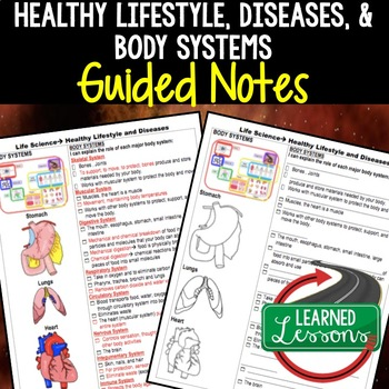 Life Science Healthy Lifestyle Body Systems Diseases Guided Notes
