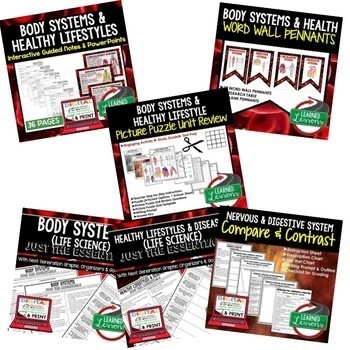 Life Science Healthy Lifestyle, Diseases, & Body Systems  (Life Science Bundle)
