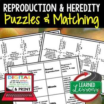 Heredity & Reproduction Puzzles Digital Interactive Notebook, Google and Print