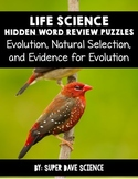 Life Science Hidden Word Vocabulary Puzzles: Evolution, Natural Selection