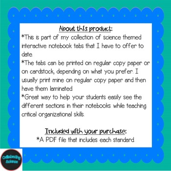 Life Science Interactive Notebook Tabs **Aligned with NGSS & NSTA**