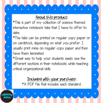 Life Science Interactive Notebook Tabs Striped Bundle *Aligned with NGSS & NSTA