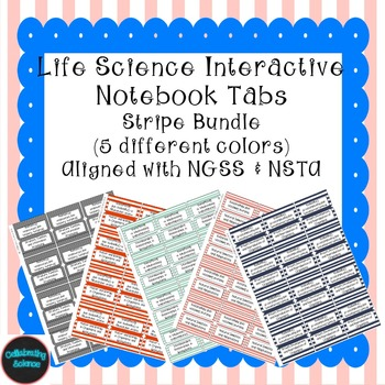 Life Science Interactive Notebook Tabs Striped Bundle *Ali