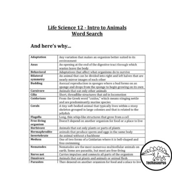 Life Science Word Search - Intro to Animals