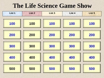 Life Science Jeopardy 1