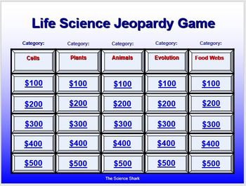Life Science Jeopardy Game - Editable