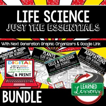 Life Science Just the Essentials Content Outlines, Next Generation Science